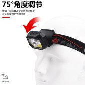 跨境2020新款感应头灯 LED强光头戴式手电 USB充电轻量夜跑小头灯